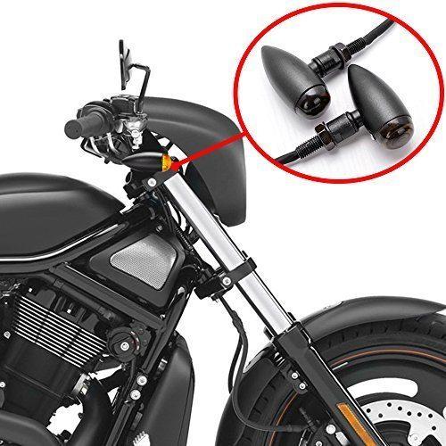 2x Black Aluminum Bullet Smoke Lens Amber Led Turn Signal