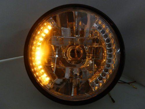 7'' Motorcycle Amber 26 LED Halo Headlight Turn Signal with