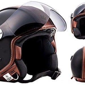 ARROW-AV-84-Vintage-Deluxe-black-Retro-Jet-Vespa-Vintage-Bobber-Scooter-Helmet-MOTO-ECE-certified-XS-0