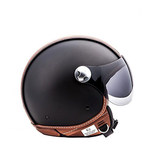 arrow av 84 vintage deluxe black retro jet vespa vintage bobber scooter helmet moto ece. Black Bedroom Furniture Sets. Home Design Ideas