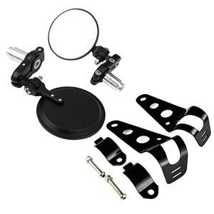 BUNDLE-2-items-3-Round-Bar-End-Side-Mirrors-78-Handlebar-Headlight-Bracket-Black-30mm-42mm-For-Cruiser-Chopper-Bobber-Caf-Racer-0