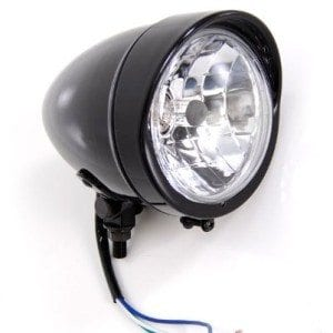 Bobber-Gloss-Black-Headlight-with-Visor-Light-Lights-fits-Harley-Davidson-Motorcycle-0