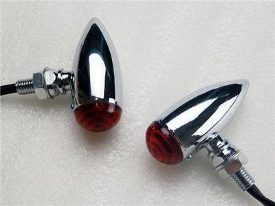Chrome Red Led Bullet Stop Turn Signal Light Motorcycle