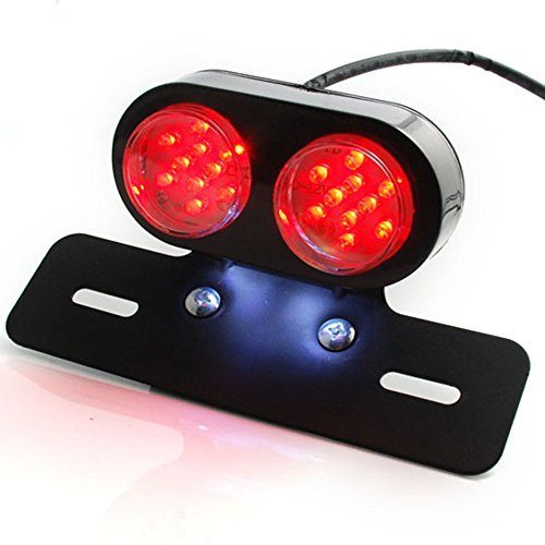 Black Alumium LED Brake Stop Tail Light License Plate Number Lamp For Harley