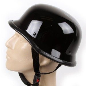 Low-Profile-Novelty-German-Chopper-Half-Helmet-Skull-Cap-Gloss-Black-S-0