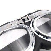 Retro-Chrome-Frame-Padded-UV-Helmet-Strap-Goggle-Sunglasses-Bike-Chopper-Caf-Racer-0-3