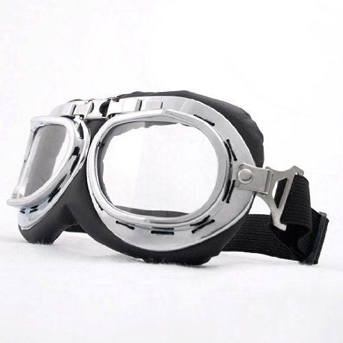 Retro-Chrome-Frame-Padded-UV-Helmet-Strap-Goggle-Sunglasses-Bike-Chopper-Caf-Racer-0