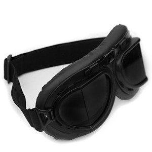 WWII-RAF-Vintage-Pilot-Style-Black-Frame-Caf-Racer-Cruiser-Touring-Helmet-Goggles-0-0