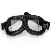 WWII-RAF-Vintage-Pilot-Style-Black-Frame-Motorcycle-Biker-Caf-Racer-Cruiser-Helmet-Goggles-0
