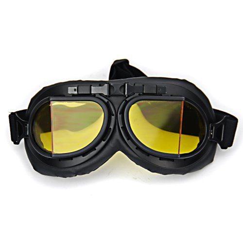 WWII-RAF-Vintage-Pilot-Style-Black-Frame-Motorcycle-Caf-Racer-Cruiser-Chopper-Helmet-Goggles-0