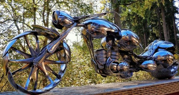 motorcycle made of spoons