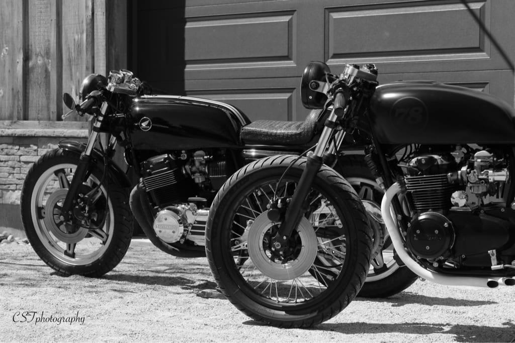 custom 1978 honda cb550 black and white